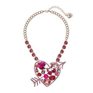 Betsey Johnson LARGE Heart Arrow Crystal Necklace